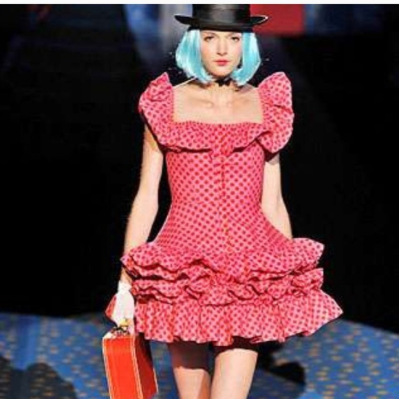 7166e22648709 Betsey Johnson Dresses   Skirts - Betsey Johnson Runway Pink Polka Dot  Ruffle Dress